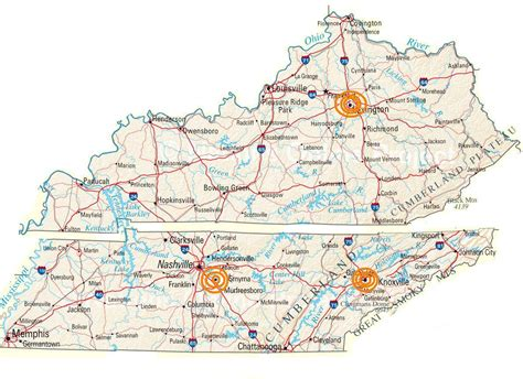 map of kentucky and tennessee kentucky tennessee map with cities images