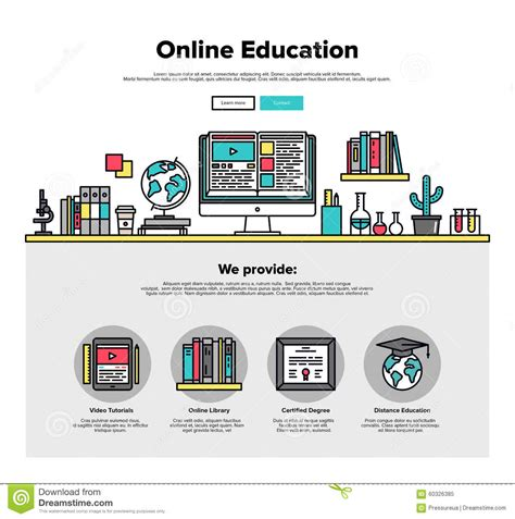 website graphics tutorial online education flat line web graphics stock vector