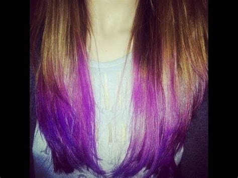 what purple hair dip dyed with black looks like how to dip dye hair ombre purple hair tutorial long