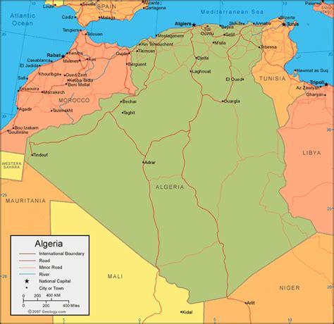algeria map with cities algeria map and satellite image