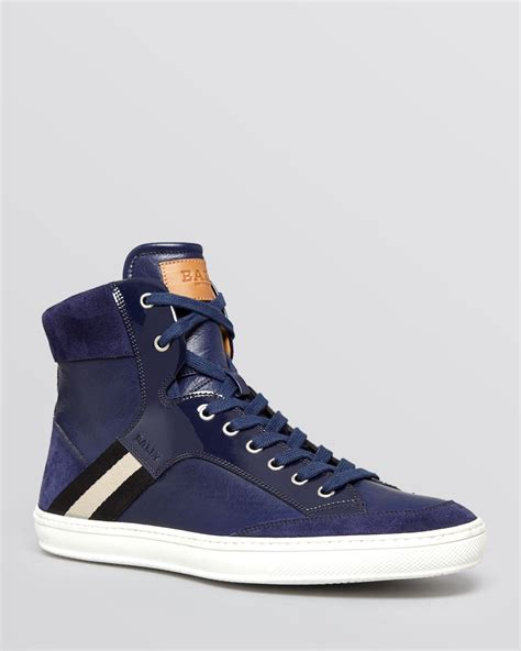 high top bally sneakers bally oldani high top sneakers in blue for indigo lyst