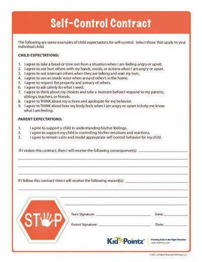 self control worksheets self control contract child behavior kid pointz