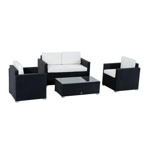 Outsunny 4pc Outdoor Rattan Sofa Patio Furniture Set