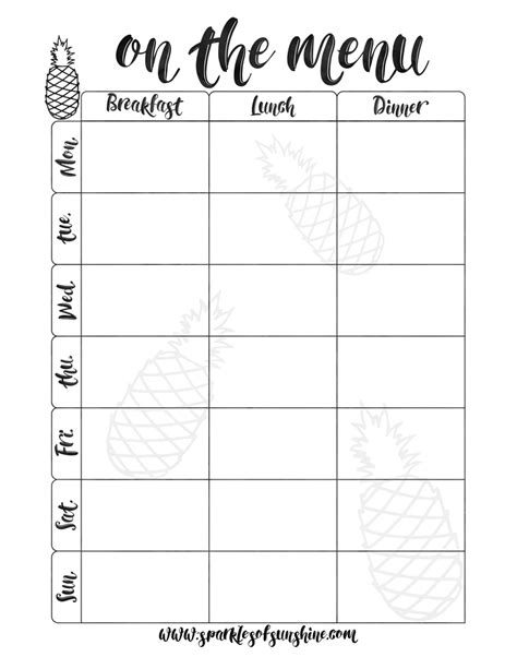 free printable meal planning guide meal planning on a budget sparkles of sunshine