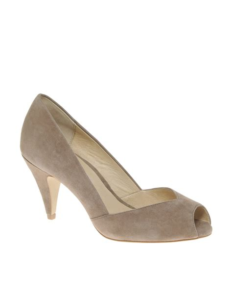 Lucite On The High Aldos Donostia Peep Toe by Aldo Aldo Parcell Mid Heel Peep Toe Courts In Brown Lyst