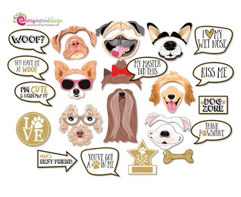 printable puppy dog photo props dog photo booth props dog 29 funny dog photo booth props puppy photo props gold