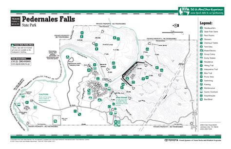 Texas State Parking Map by Pedernales Falls Texas State Park Facility Map