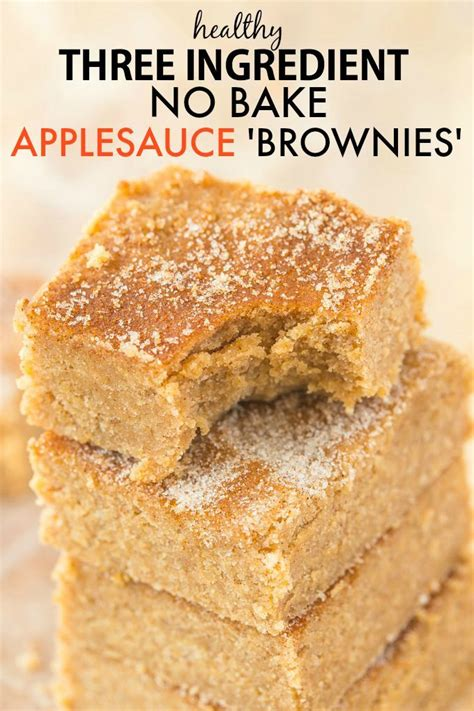 3 ingredient no bake applesauce brownies paleo vegan gluten free