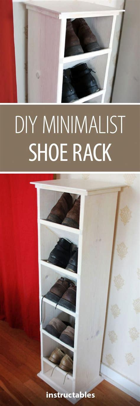 diy minimalist shoe rack woodworking furniture storage