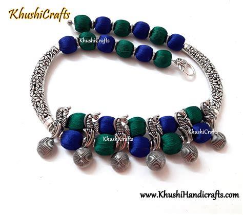 Handmade Thread Jewellery - buy peacock choker silk thread necklace indian jewelry