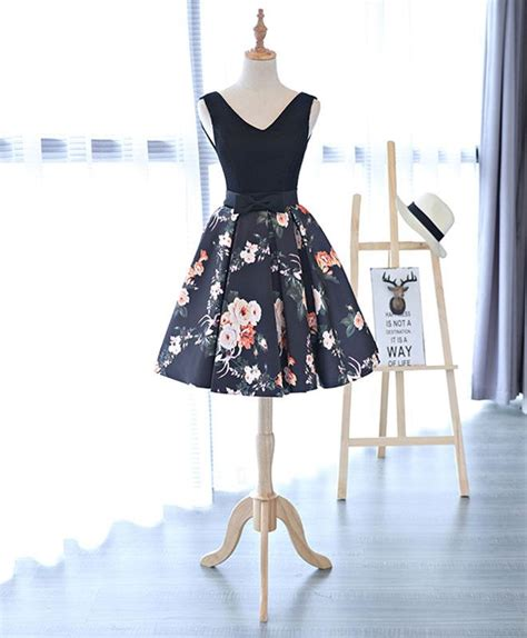 pattern homecoming dress cute v neck floral pattern short prom dress homecoming