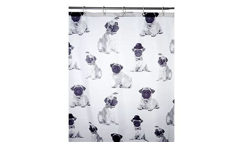pug shower curtain george home pugs shower curtain home garden george at asda