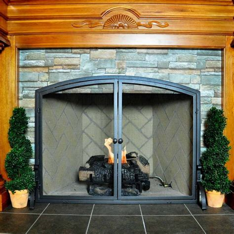 wide fireplace screen vintage fireplace screens with doors for family room