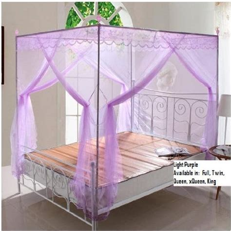 Purple Bed Canopy Light Purple Lace Luxury 4 Post Bed Canopy Mosquito Net Set Frame Canopy Bed