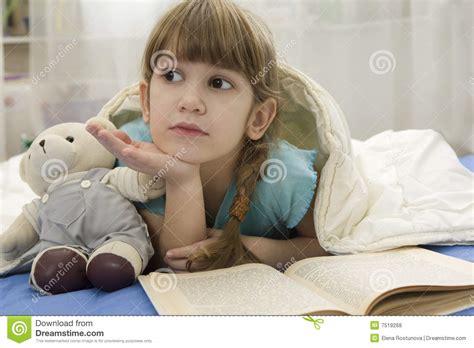 little girls sofa little girl with bear on sofa royalty free stock photos image 7519268