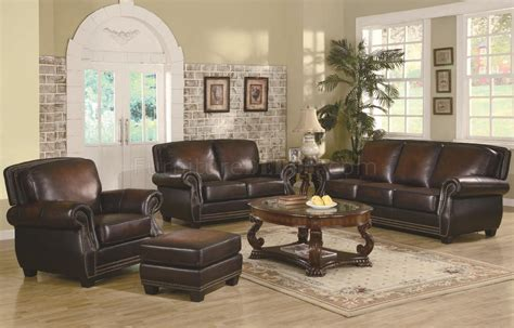 Leather Furniture Set by Brown Leather Classic Sofa Loveseat Set W Optional Items