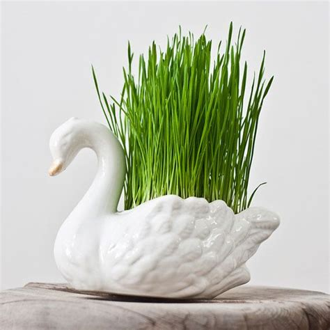 porcelain swan planter vase vintage flower pot bird