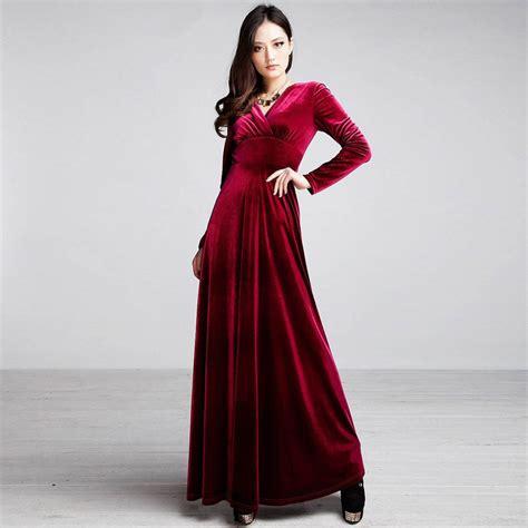 Longdress Velvet vintage sleeve maxi velvet bridesmaid evening