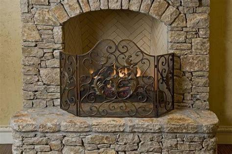 italian tuscan scroll 3 panel fireplace screen