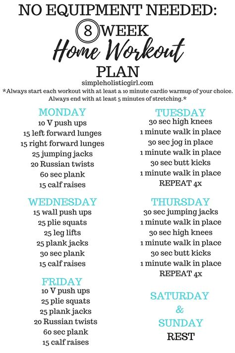 no equipment needed 8 week home workout plan step by