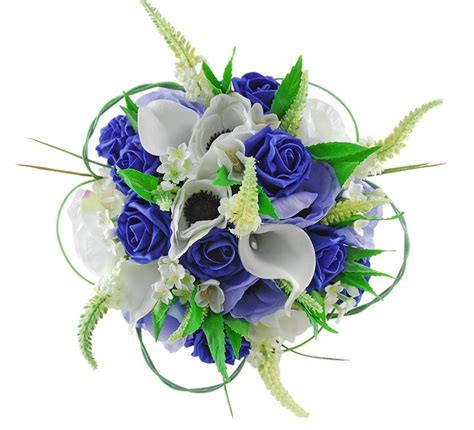 Bridal Wedding Bouquet, Royal Blue Roses, Silk Anemone