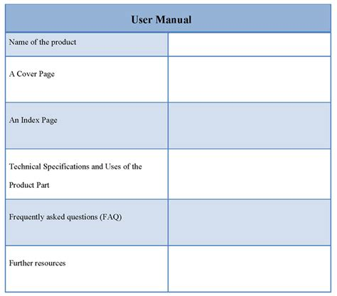 user manual templates manual template for user template of user manual sle