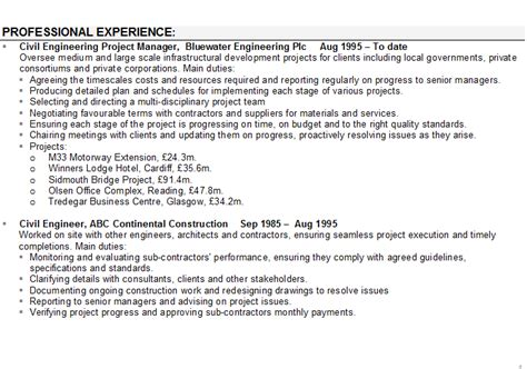 templates of cv personal statements civil engineering cv sle