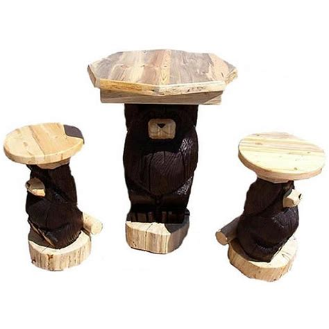 Log Pub Table And Stools by Log Pub Table And Stools Cabin Place