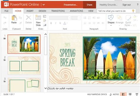spring break photo album template for powerpoint
