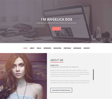 Personal Resume Website Template by 20 Best Personal Resume Website Templates 2017 Web