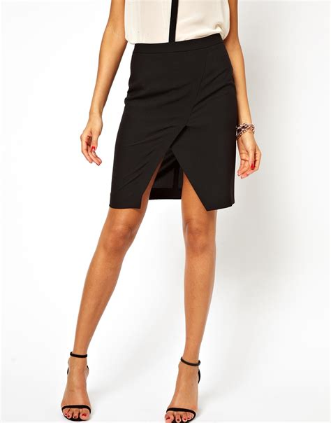 asos pencil skirt with wrap in black lyst