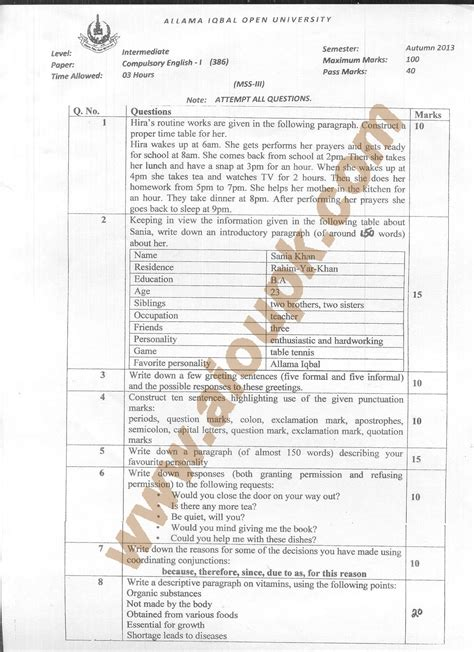 paper pattern hs code compulsory english i code 386 fa f sc aiou old papers