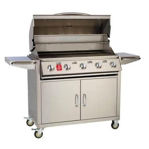 bull outdoor products 5 burner bullet liquid propane grill