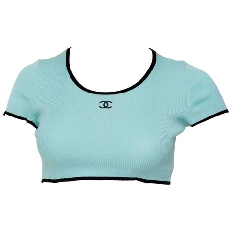 Channel Tops 1990s chanel rib knit cropped top at 1stdibs