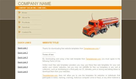 Transportation Company Css Website Template Free Download Free Trucking Website Templates