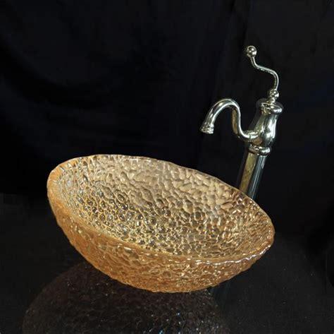jsg oceana champagne gold pebble  vessel sink  oceana glass sinks pinterest glasses