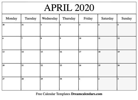 printable blank april  calendar   heart