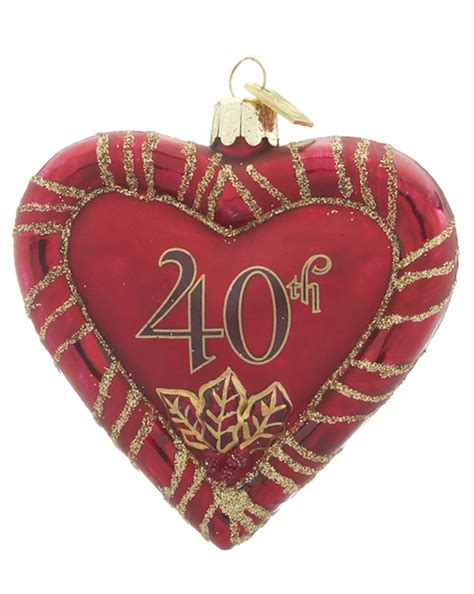 40th anniversary heart personalized ornament