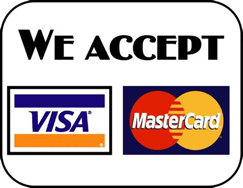 Now accepting visa amp mastercard