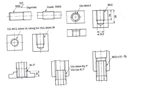 ukuran format gambar teknik teknik elektronika industri jenis jenis ulir drat bagian