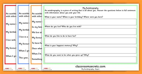 year 1 autobiography writing prompt differentiated