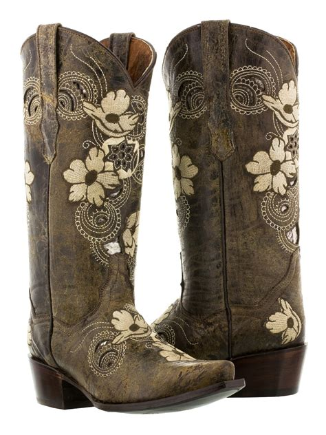 Sepatu Country Boots Casual Brown Originla Handmade womens brown beige flower embroidered leather cowboy boot distressed new ebay