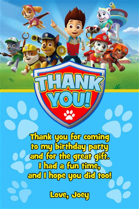 printable thank you cards paw patrol paw patrol invitations from general prints