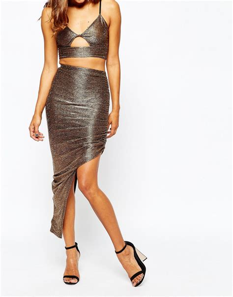 Tas Ck Drawstring Original Bronze missguided metallic ruched side skirt in metallic lyst