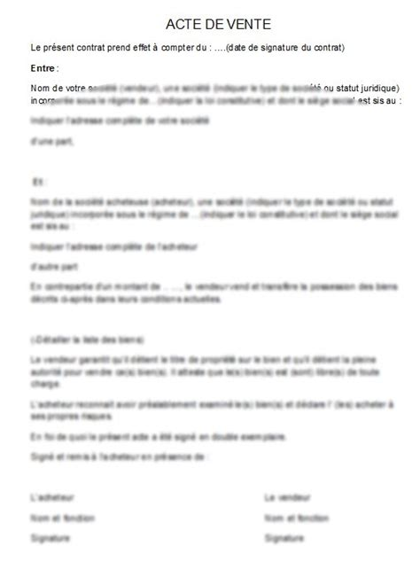 Exemple De Lettre Vente Auto Mod 232 Le Acte De Vente De Biens