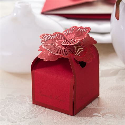 wholesale red floral wedding favor candy boxes paper laser