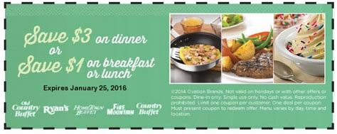 old country buffet coupons 1 off breakfast lunch