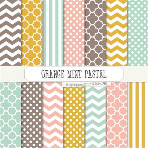 pastel pattern paper buy 2 get 1 free digital paper orange mint pastel pattern