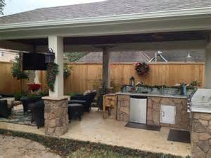 Small Backyard Decks Patios Poolside Patio Featuring Stone Kitchen And Bar