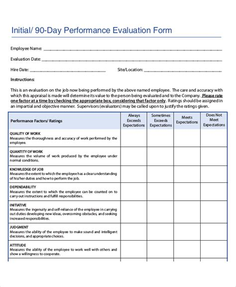 90 day performance review template employee review templates 10 free pdf documents